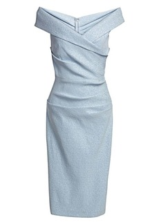 Teri Jon Off-The-Shoulder Metallic Cocktail Dress