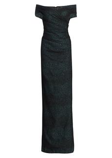 Teri Jon Off-the-Shoulder Metallic Column Gown