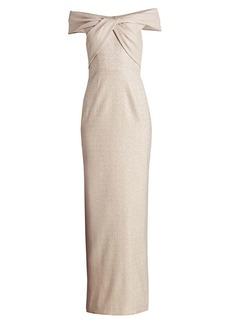 Teri Jon Off-The-Shoulder Metallic Gown