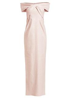 Teri Jon Off-The-Shoulder Metallic Jacquard Column Gown