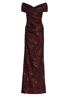 Teri Jon Off-The-Shoulder Metallic Jacquard Gown