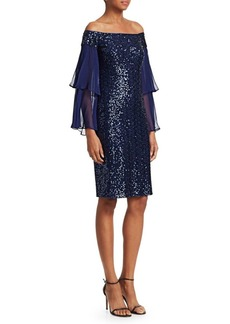 Teri Jon Off-The-Shoulder Sequin Cocktail Dress