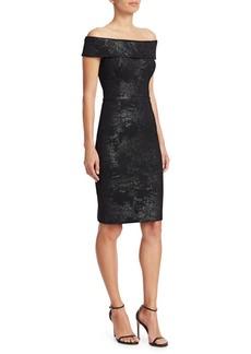 Teri Jon Off-The-Shoulder Stretch Metallic Jacquard Sheath Dress