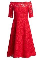 Teri Jon Off-The-Shoulder Three-Quarter Sleeve Lace Dress