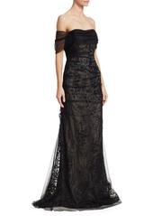 Teri Jon Off-The-Shoulder Tulle & Beaded Trim Mermaid Gown