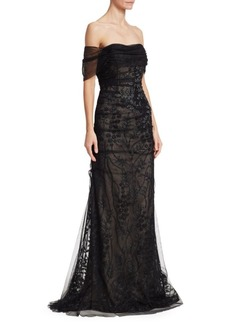 Teri Jon Off-The-Shoulder Tulle & Beaded Trim Mermaid Gown