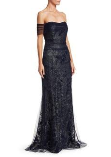 Teri Jon Off-The-Shoulder Tulle Mermaid Gown