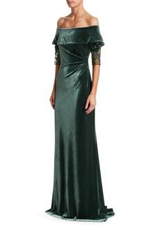 Teri Jon Off-The-Shoulder Velvet Column Gown