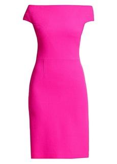 Teri Jon Off-The-Shoulder Wool Sheath Dress