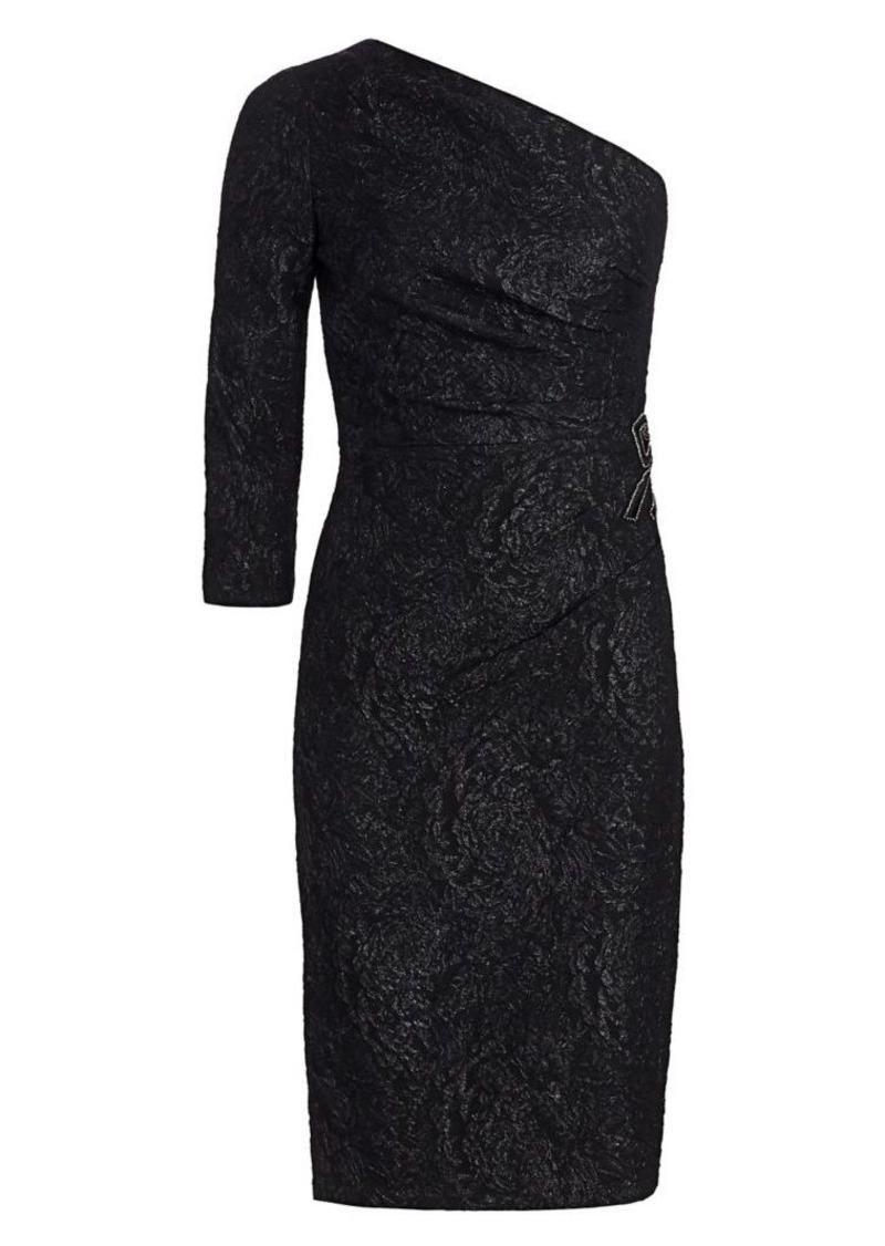 Teri Jon One-Shoulder Beaded Sheath Dress