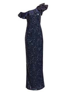 Teri Jon One-Shoulder Embellished Lace & Taffeta Ruffled Gown