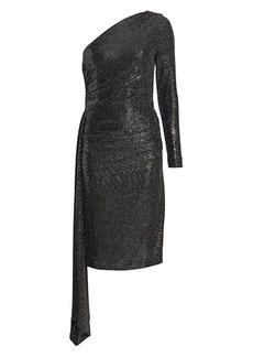 Teri Jon One-Shoulder Knit Sequin Bodycon Dress