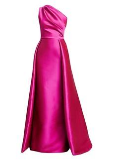 Teri Jon One-Shoulder Satin Gown