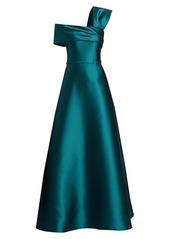 Teri Jon One-Shoulder Silk Mikado A-Line Gown