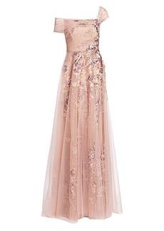 Teri Jon One-Shoulder Tulle Gown
