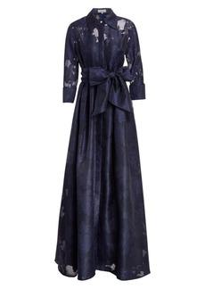 Teri Jon Organza Jacquard Floor-Length Gown