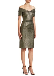 Teri Jon OTS Off-The-Shoulder Metallic Cocktail Dress