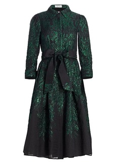 Teri Jon Point Collar Metallic Jacquard Cocktail Dress