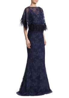 Teri Jon Popover Feather Mermaid Gown