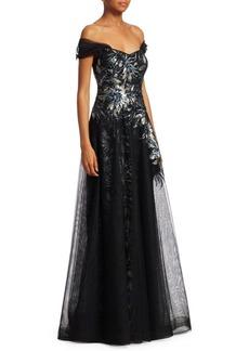 Teri Jon Print Sequin Tulle Gown