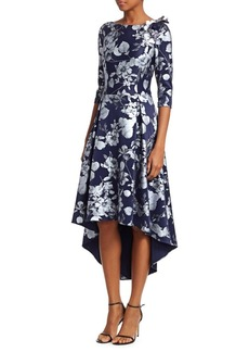Teri Jon Printed Scuba High-Low A-Line Dress