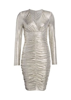 Teri Jon Ruched Long-Sleeve Metallic Sheath Dress