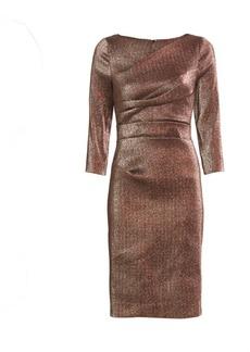 Teri Jon Ruched Metallic Cocktail Dress