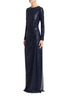 Teri Jon Ruched Sequin Gown