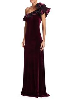 Teri Jon Ruffle One-Shoulder Velvet Gown
