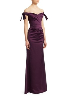 Teri Jon Satin Off-The-Shoulder Ruched Gown