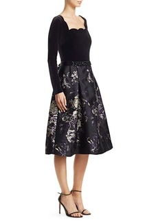 Teri Jon Scalloped Floral Brocade Fit-And-Flare Dress