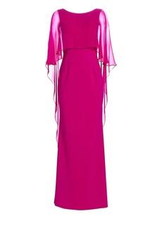 Teri Jon Scuba Gown Chiffon Overlay Dress