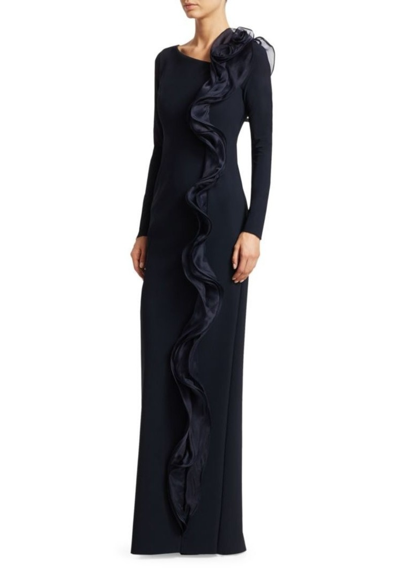Teri Jon Scuba Long-Sleeve Side Ruffle Column Gown