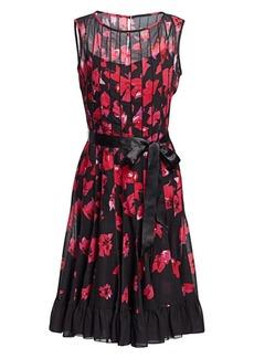 Teri Jon Seamed Floral Fit-&-Flare Dress