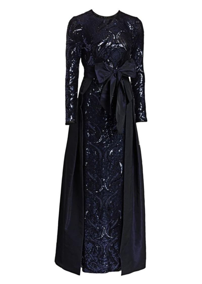 Teri Jon Sequin & Taffeta Overlay Gown