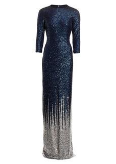 Teri Jon Sequin-Embellished Knit Gown