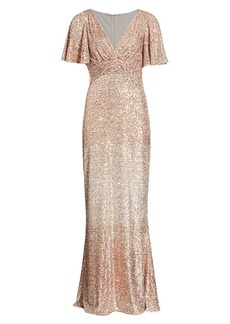 Teri Jon Sequin Flutter-Sleeve Column Gown
