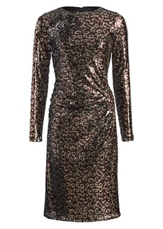 Teri Jon Sequin Leopard Print Sheath Dress