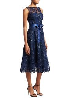 Teri Jon Sequin Tulle Sleeveless A-Line Dress