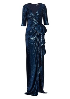 Teri Jon Sequin Wrap Gown