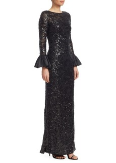 Teri Jon Sequined Bell-Sleeve Gown