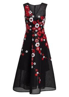 Teri Jon Sequined Floral Mesh A-Line Dress