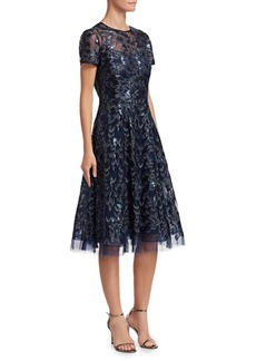 Teri Jon Sequined Tulle Fit-And-Flare Dress