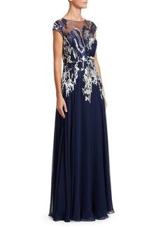 Teri Jon Sheer Appliqué Gown