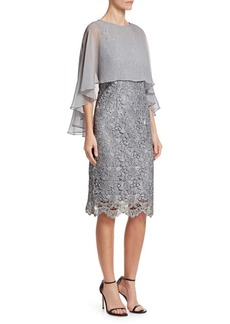 Teri Jon Sheer-Overlay Lace Cocktail Dress