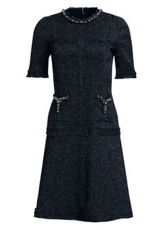 Teri Jon Short-Sleeve A-Line Dress
