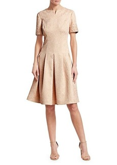 Teri Jon Short Sleeve Fit-&-Flare Dress