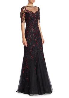 Teri Jon Short-Sleeve Lace Appliqué A-Line Gown