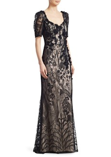 Teri Jon Short-Sleeve Lace Gown