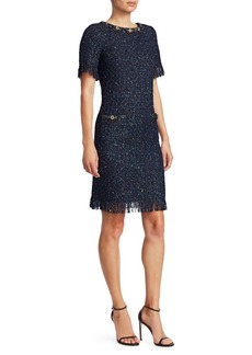 Teri Jon Short-Sleeve Sparkle Tweed Fringe Sheath Dress